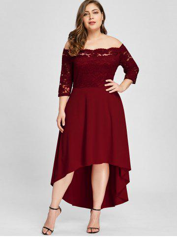 8730240216 Plus Size Off Shoulder Lace High Low Dress