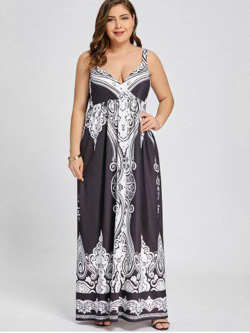 43a90a2b98687 Arab Print Plus Size Sleeveless Maxi Dress