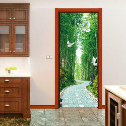 Tree-lined Trail Pigeons Pattern Door Art Stickers -
