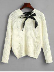 Cable Knit Chunky Bowknot Sweater -