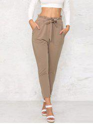 Agaric Trim Tapered Pants with Belt -