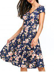 Surplice Floral Printed Skater Dress -