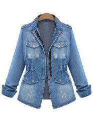 Ripped Elastic Waist Denim Jacket -
