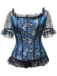 Lace Trim Brocade Steel Boned Corset Top -