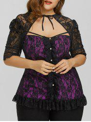 Plus Size Cut Out Lace Top -
