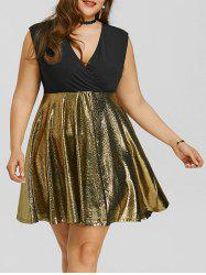 Plus Size Glitter Surplice Party Dress -