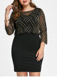 Plus Size Shining Top with Fitted Dress -