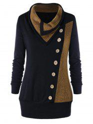 Plus Size Heap Collar Buttons Tunic Sweatshirt -