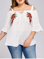 Plus Size Embroidery Bell Sleeve Blouse -