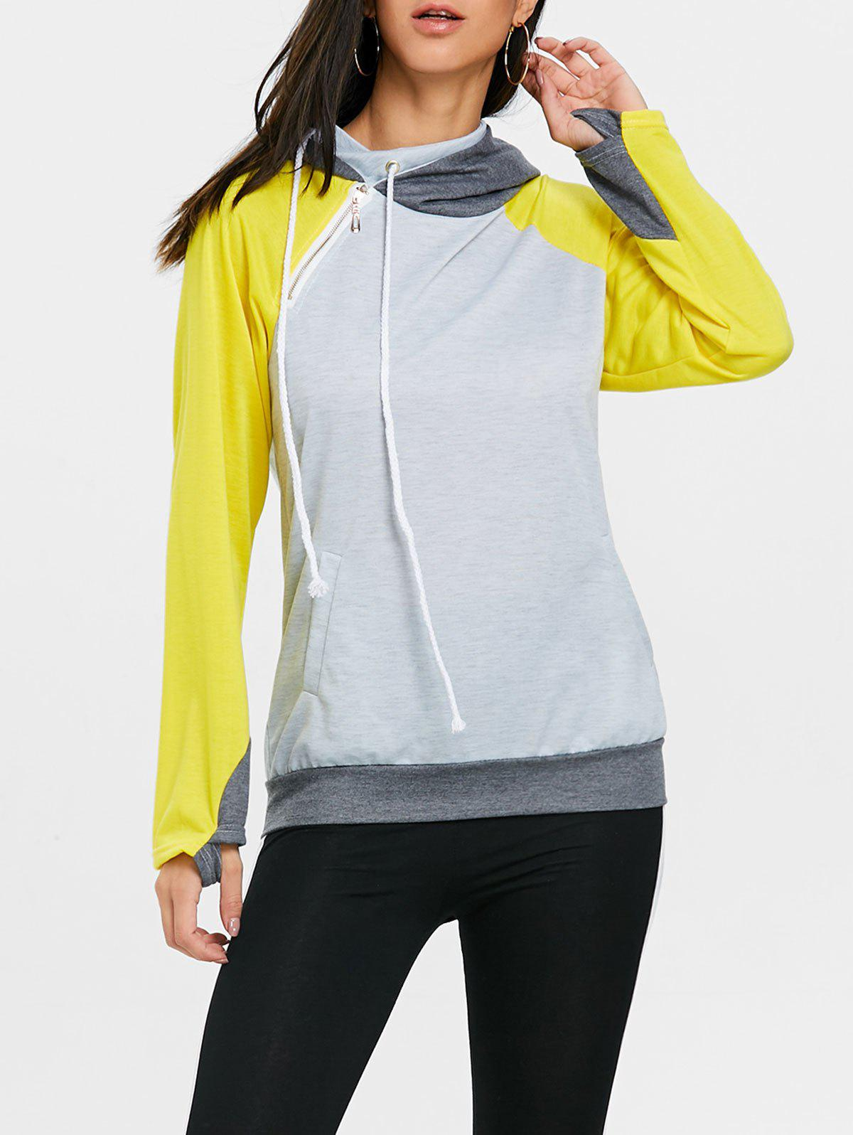 Discount Drawstring Raglan Sleeve Color Block Sport Hoodie