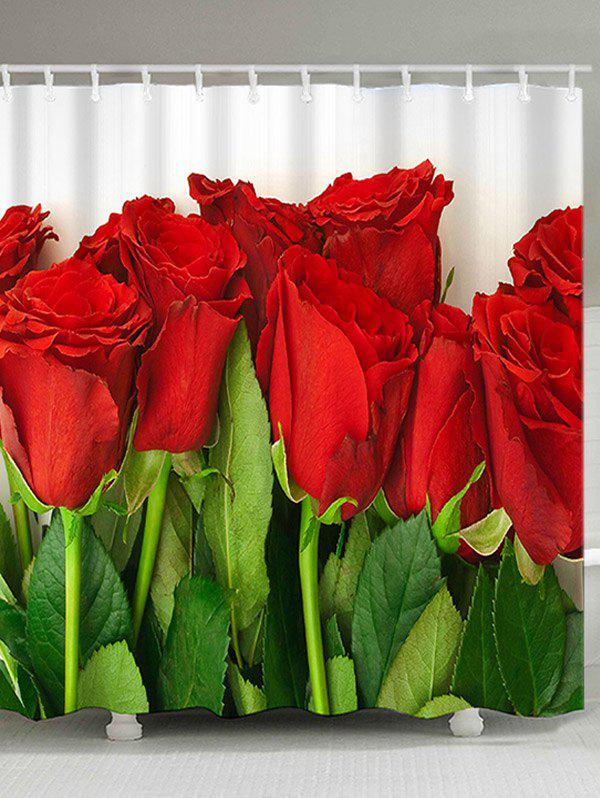 Discount Valentine's Day Red Roses Pattern Dustproof Shower Curtain with Hooks