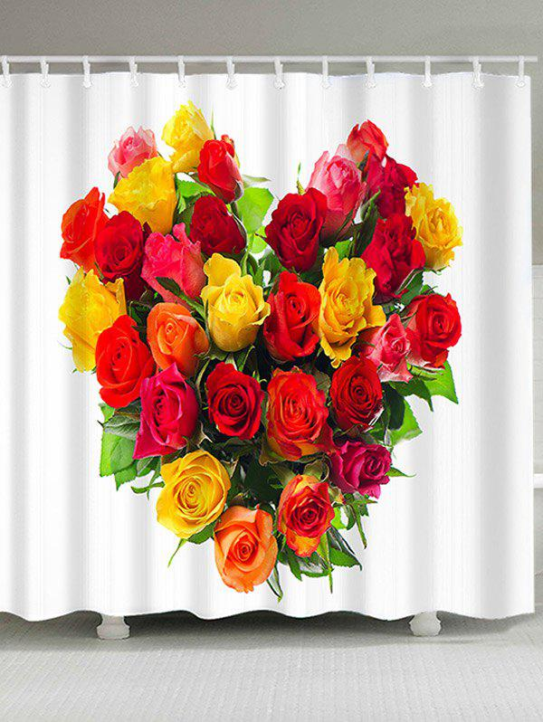 Buy Waterproof Heart Roses Printed Valentine's Day Shower Curtain