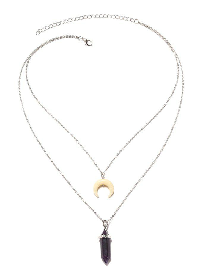 2019 Valentines Day Layered Moon Pendant Necklace