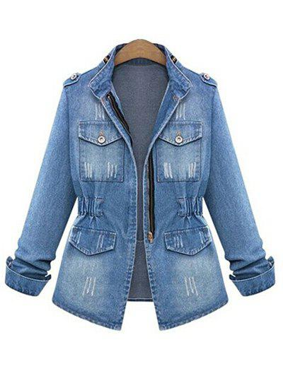 Affordable Ripped Elastic Waist Denim Jacket