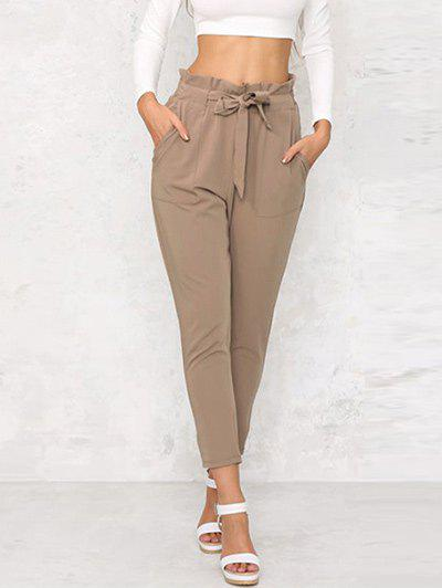 Discount Agaric Trim Tapered Pants with Belt