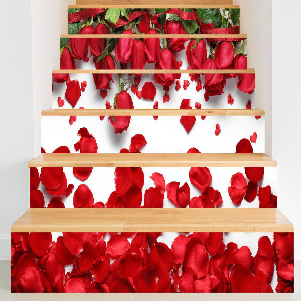 Shops 3D Valentine's Day Roses Petals Print DIY Stair Stickers