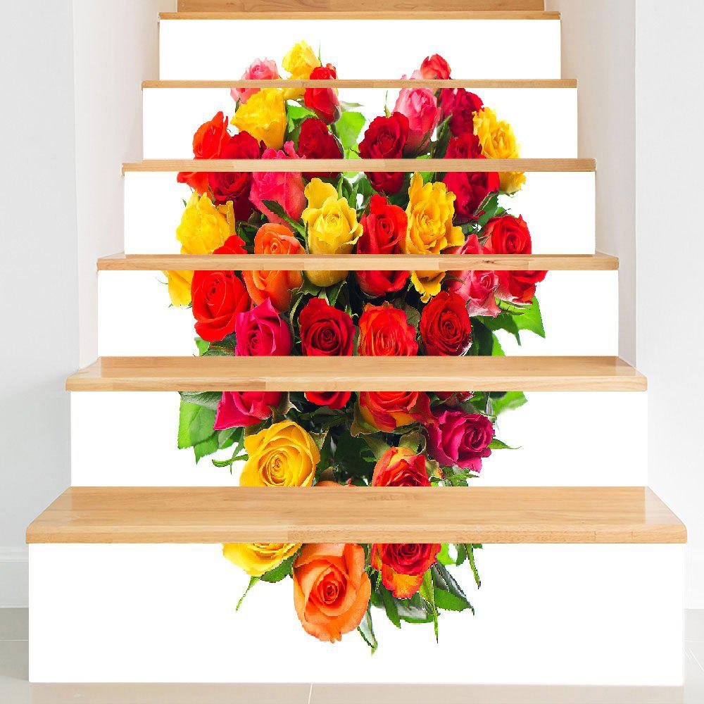 Trendy Valentine's Day Roses Heart Print DIY Stair Stickers