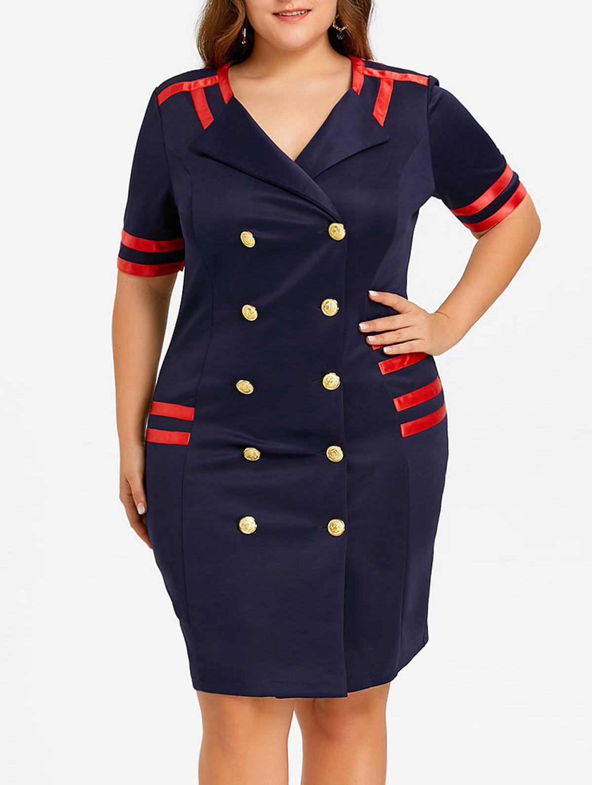 New Plus Size Striped Double Breasted Bodycon Dress