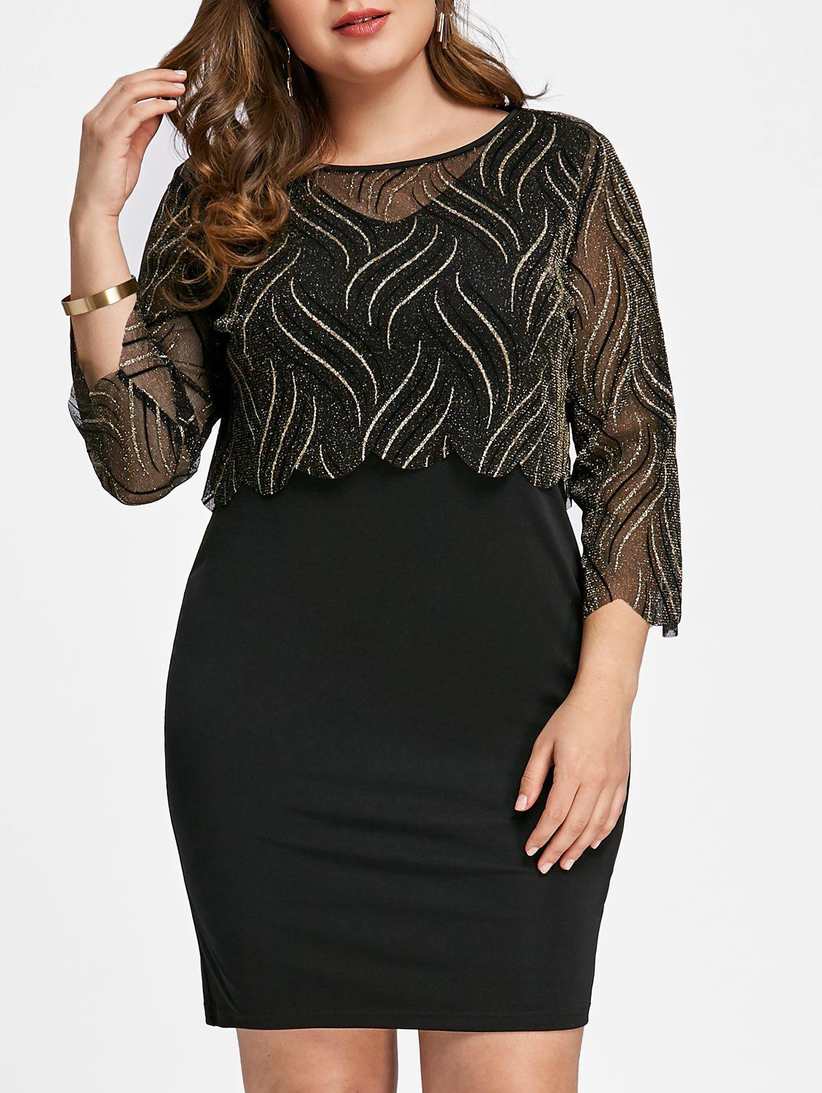 Sale Plus Size Shining Top with Fitted Dress