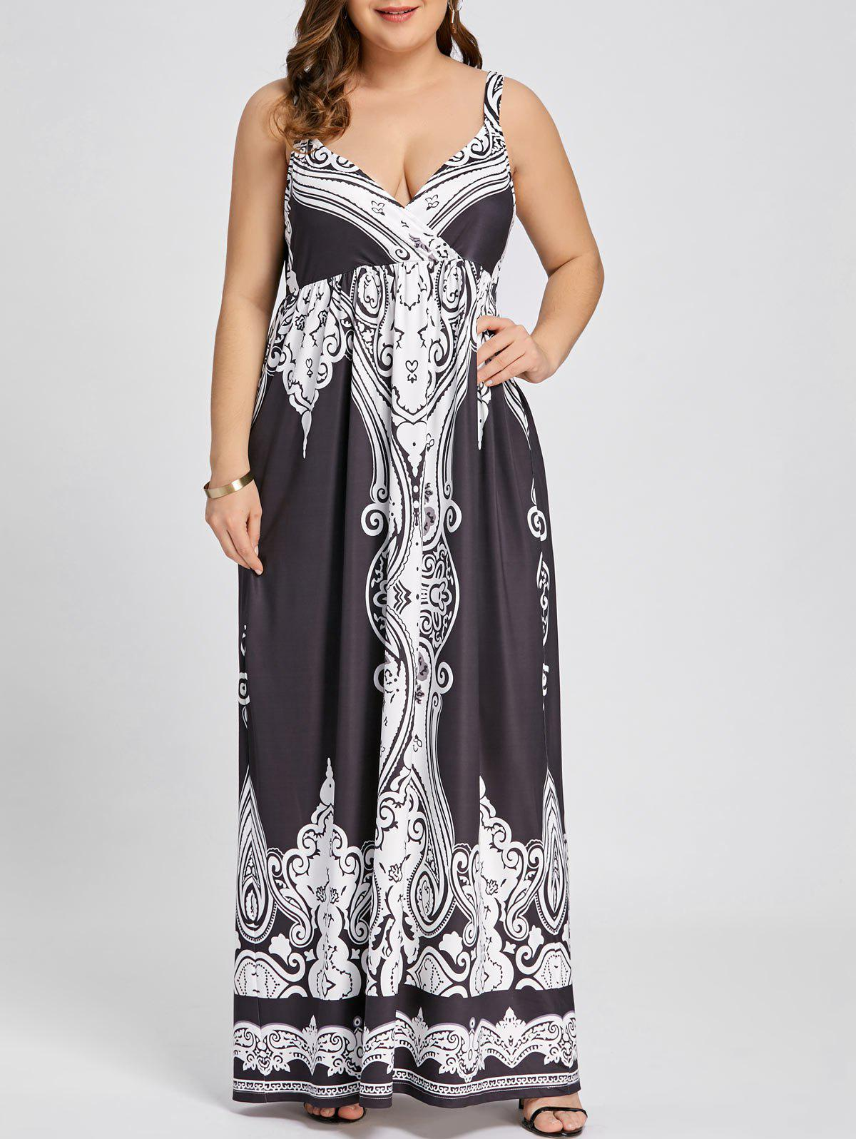 Outfits Arab Print Plus Size Sleeveless Maxi Dress