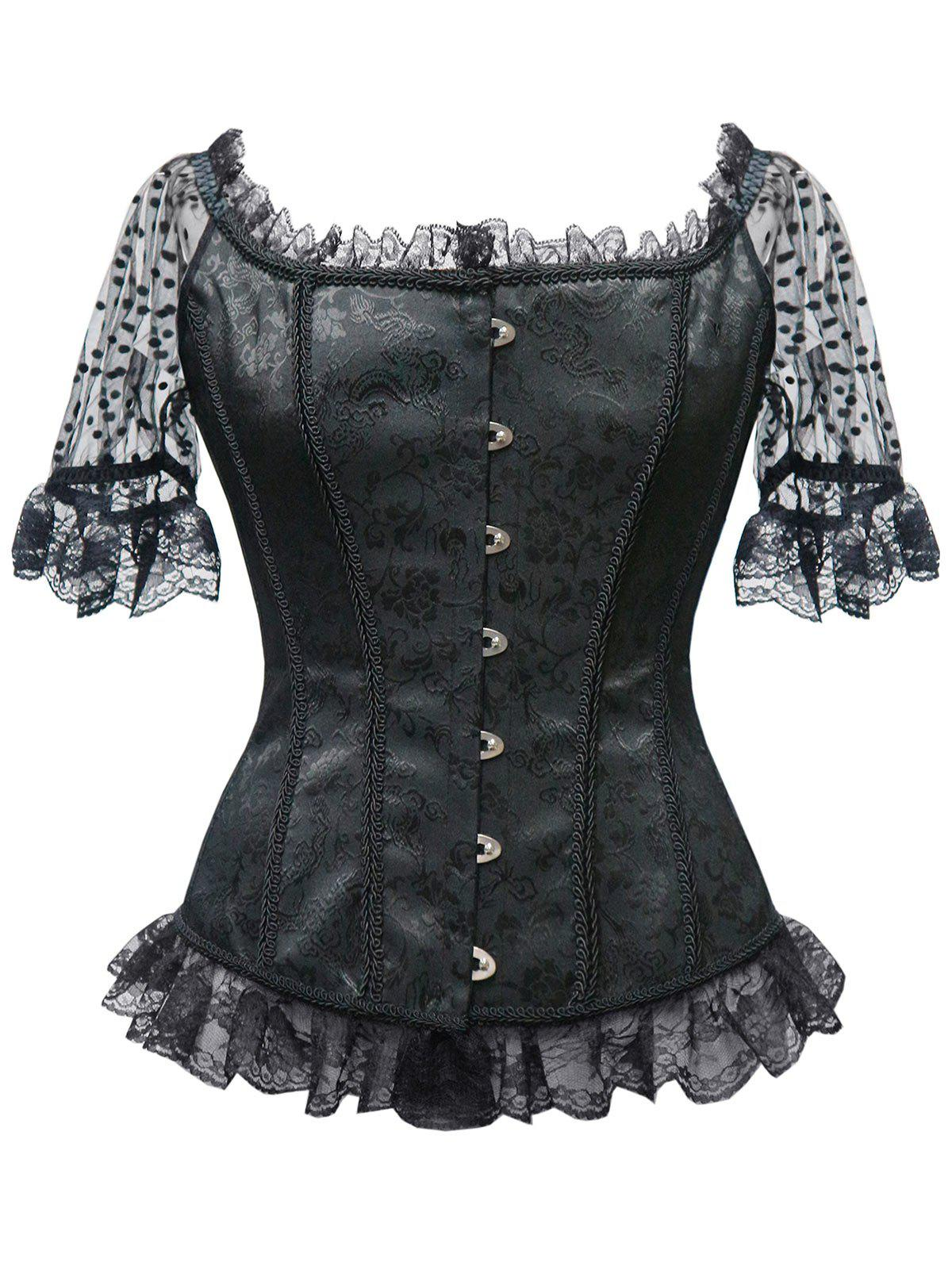 Affordable Lace Trim Brocade Steel Boned Corset Top