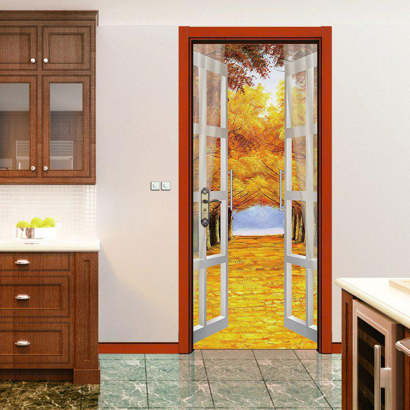 Discount Autumn Forest Open Window Pattern Door Art Stickers