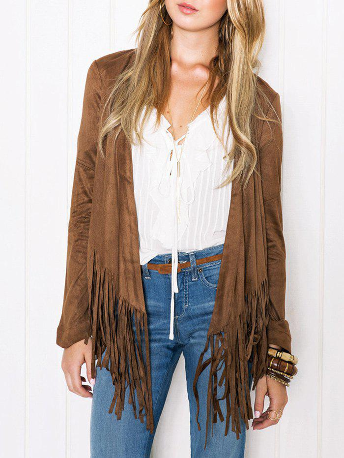Hot Faux Suede Tassel Insert Jacket