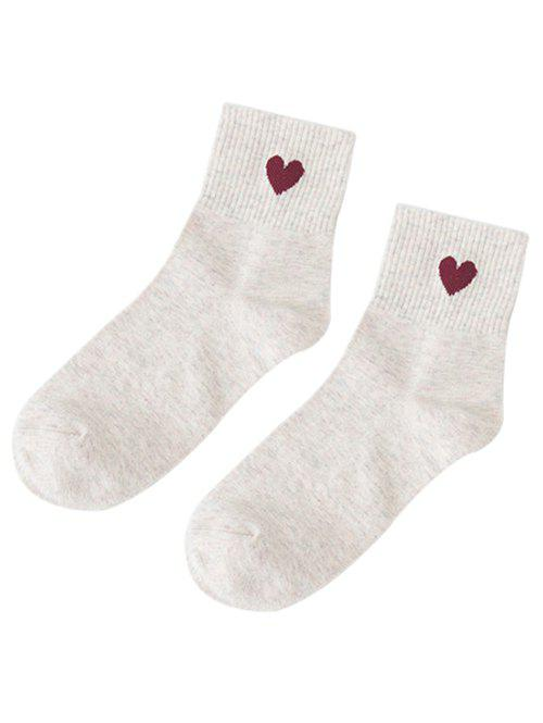 Off White Small Heart Pattern Knitted Ankle Socks | RoseGal.com
