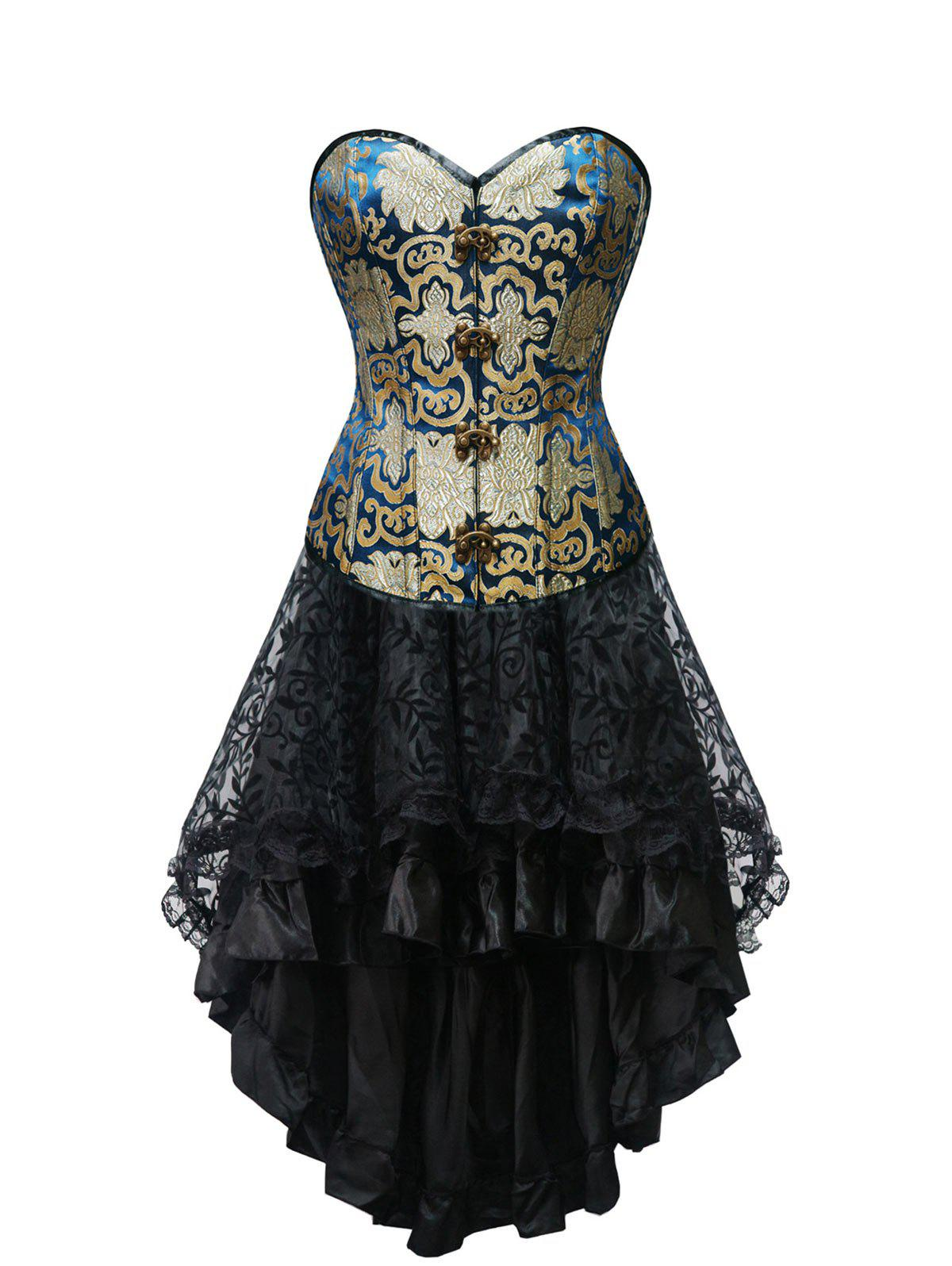 Buy Jacquard Strapless Steel Boned Corset Dress