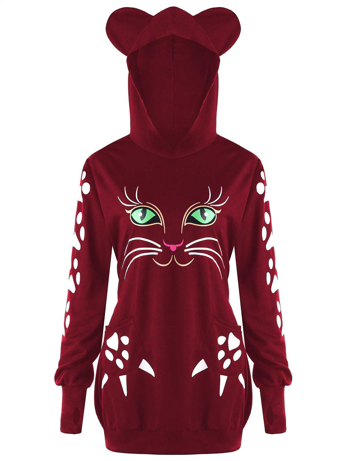 Fashion Plus Size Cat Pattern Hoodie with Ears
