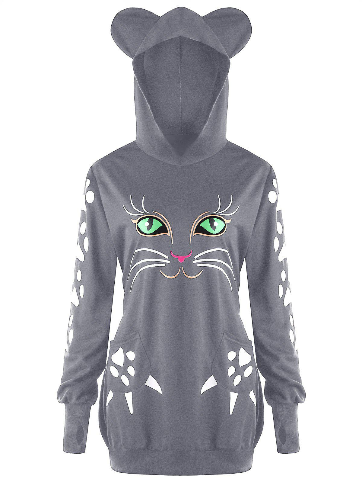 New Plus Size Cat Pattern Hoodie with Ears