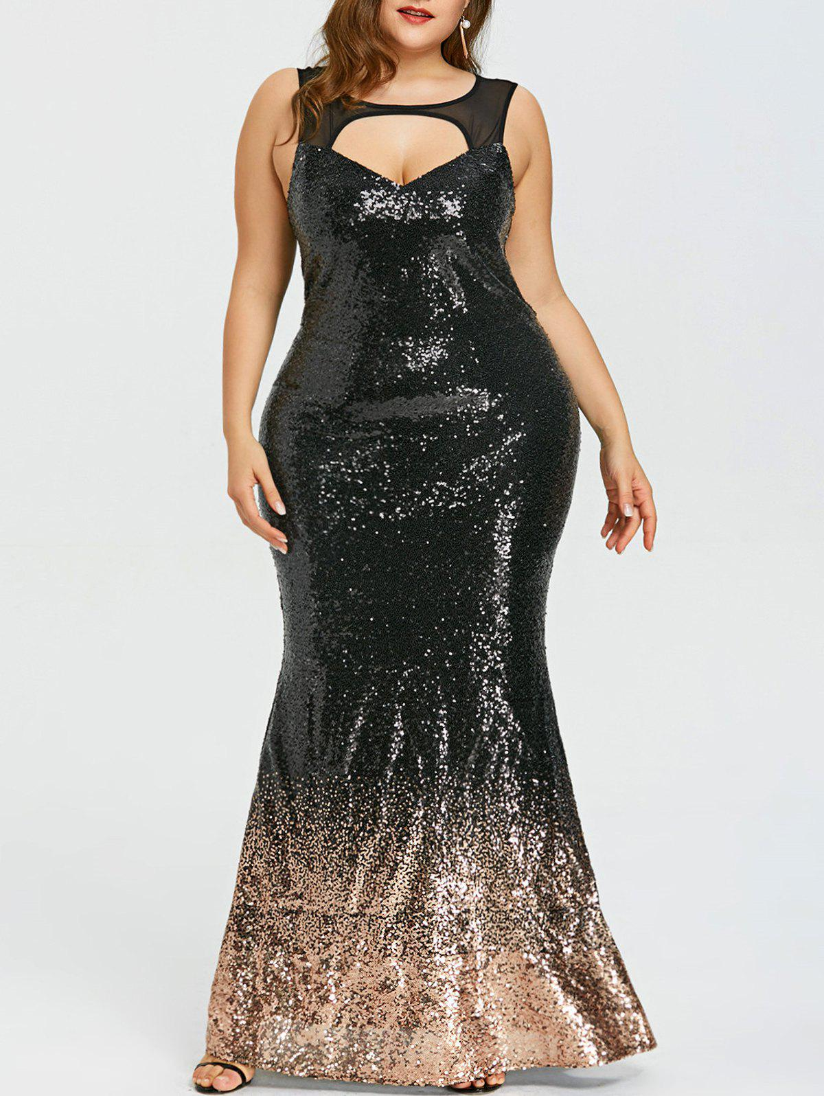 2018 Plus Size Open Back Sparkly Mermaid Dress In Black 5xl ...
