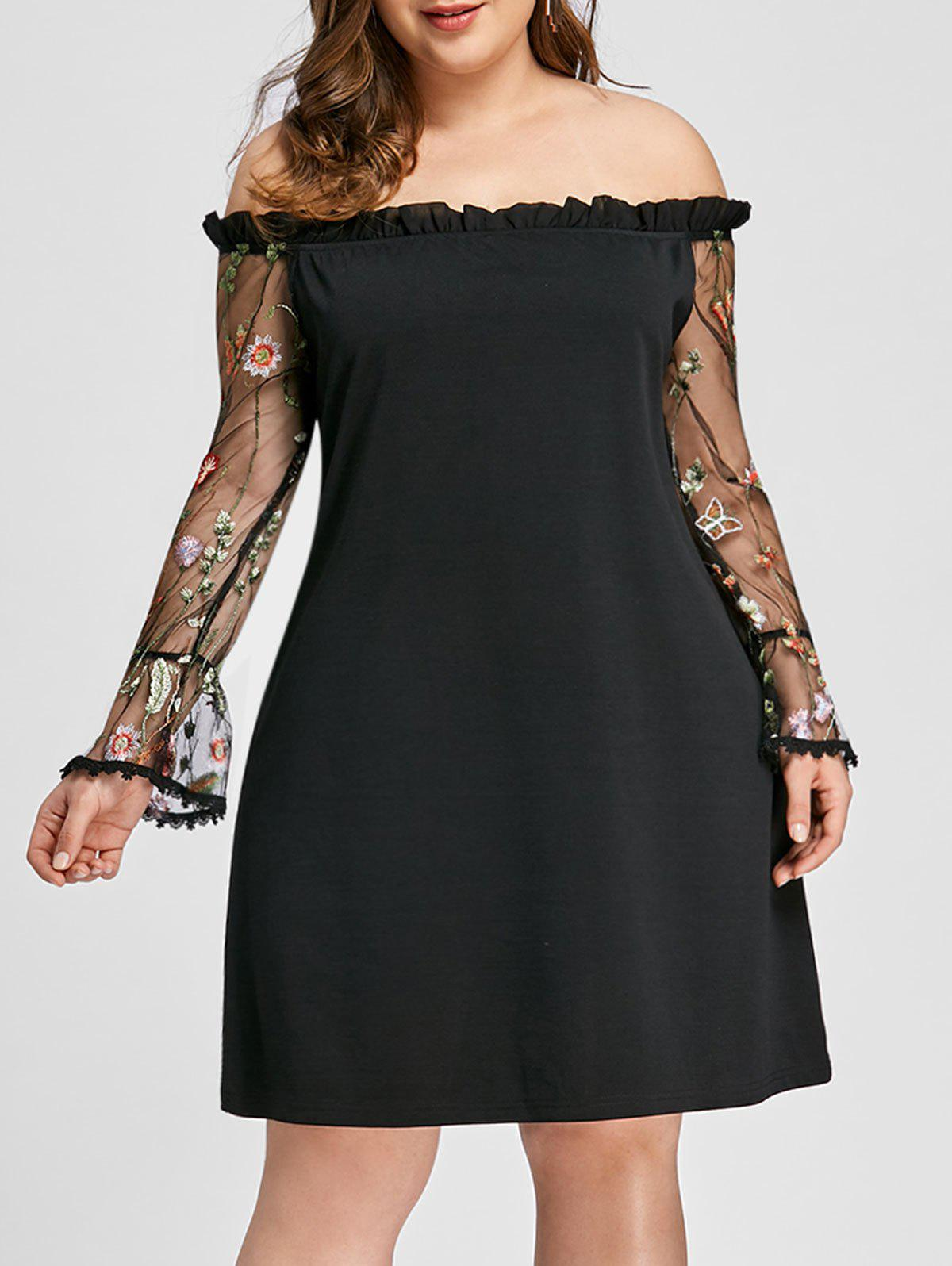Affordable Plus Size Ruffle Embroidery Off Shoulder Dress