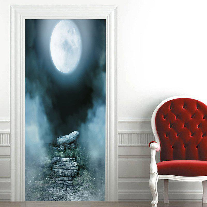 Trendy Moon Night Patterned Decorative Door Stickers
