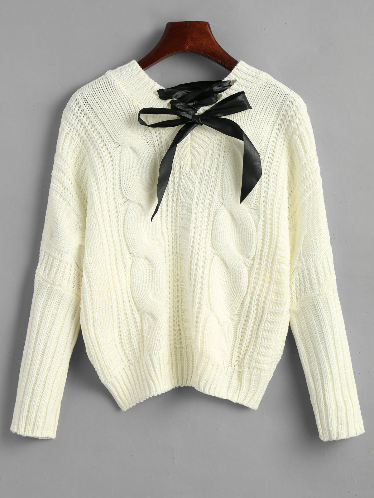 Shops Cable Knit Chunky Bowknot Sweater