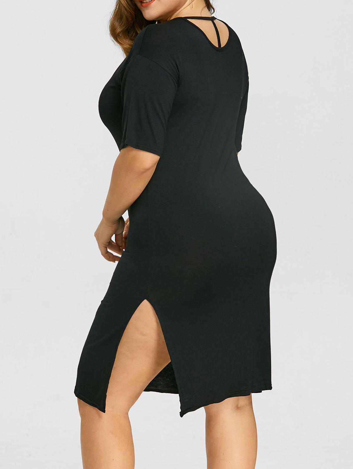 Affordable Plus Size Slit Drop Shoulder Dress