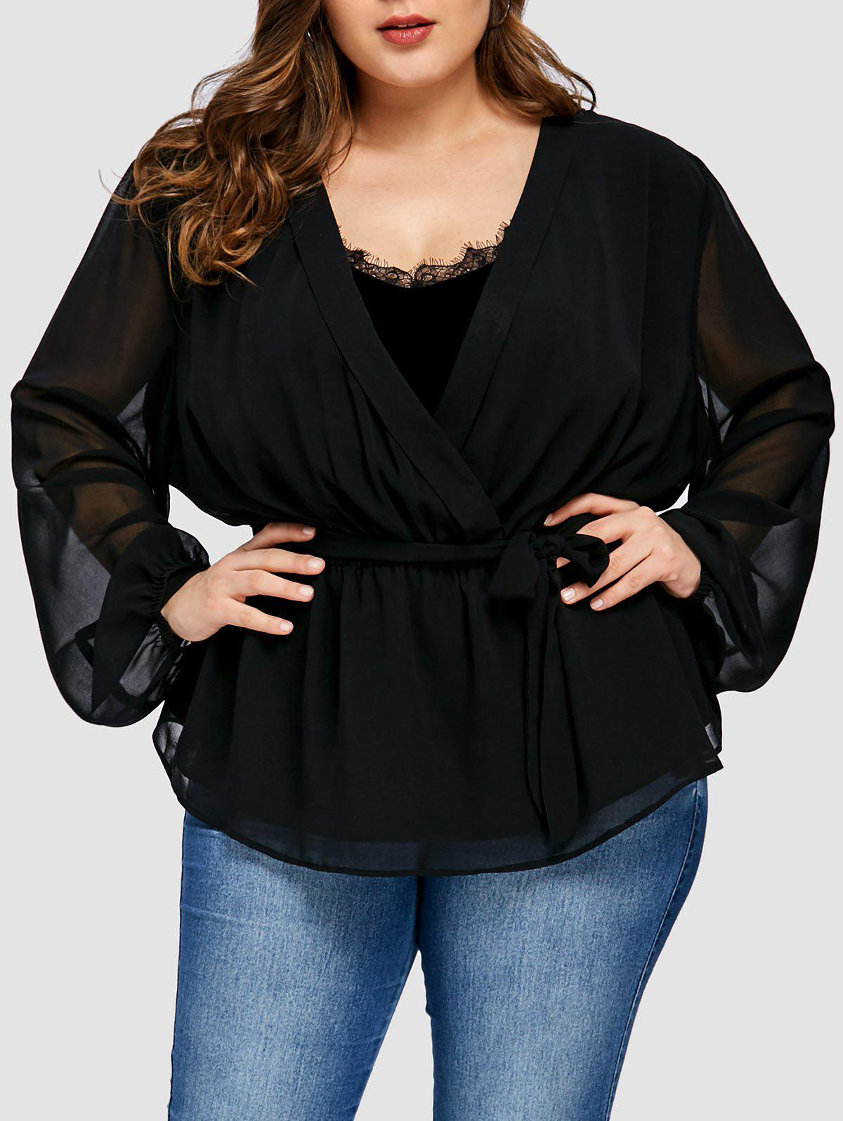 66aaa7d621f Fashion Plus Size Chiffon Insert Short Wrap Coat