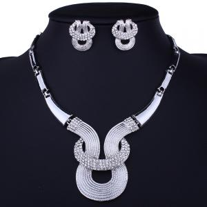 Alliage Rhinestone Inlay Embellished Collier Boucles d'oreilles Set -