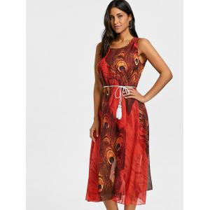 Peacock Feather Print Tassel Belted Chiffon Dress -