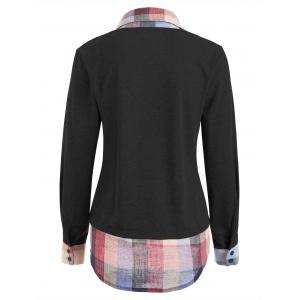 Sweat-shirt à carreaux en patchwork contrastant -