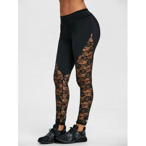 Floral Lace Panel Sports Leggings -