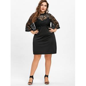 Lace Yoke Bell Sleeve Plus Size Dress -