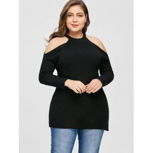 Plus Size Ribbed Open Shoulder Sweater -