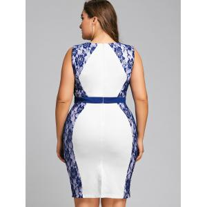 Plus Size Two Tone Lace Trim Pencil Dress -