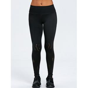 Wide Waistband Ripped Sporty Leggings -