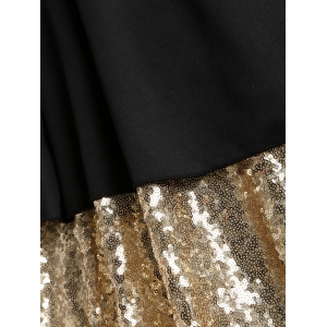 Plus Size Sequins Mesh Panel Cocktail Dress -