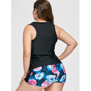 Zipper Floral Print Plus Size Tankini Set -
