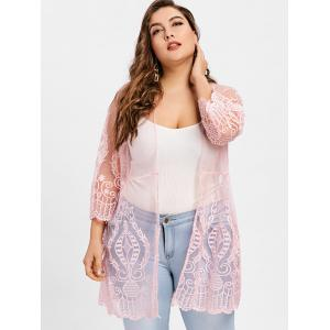 Plus Size Sheer Lace Cover Up Cardigan -