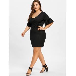 Bell Sleeve Plunging Plus Size Dress -