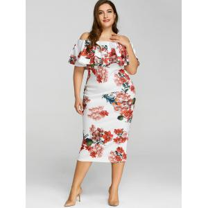 Plus Size Ruffle Floral Print Dress -